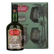 Compagnie des Indes - Rhum vieux - Caraibes - Coffret 2 verres - 70cl - 40°