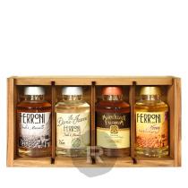 Ferroni - Coffret bois Minis - Ambré, Dame Jeanne, Merv.falernum, Honey Rum - 40cl - 38,4°