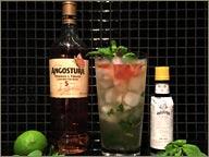 photo de rhums Angostura et verres à cocktail